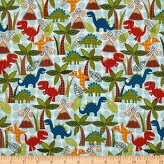 Michael Miller Dino Roars Lil' Dinos Turquoise from @fabricdotcom  Designed for Michael Miller Fabrics, this cotton print features a dinosaur motif.  Perfect for quilting, apparel and home décor accents.  Colors include white, red, orange, yellow, shades of brown, shades of green and shades of blue.