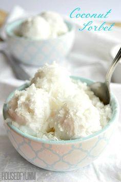 Coconut Sorbet.  3 ingredients.  Vegan.  Perfect cool, refreshing treat!