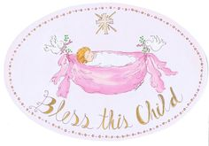 The Kids Room by Stupell Bless This Child with Baby in Pink Hammock Oval Wall Plaque *** Learn more by visiting the image link. (This is an affiliate link and I receive a commission for the sales)