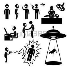 UFO Alien Invaders Stick Figure Pictogram Icon photo