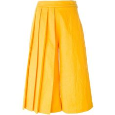 MSGM Pleated Palazzo Pants ($219) ❤ liked on Polyvore featuring pants, palazzo trousers, msgm, yellow pants, palazzo pants and pleated palazzo pants