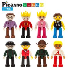 PicassoTiles Magnetic 8 Piece Character Action Figures Toddler Toy Set Magnet Expansion Variety Pack Educational Add-on STEM Learning Kit Pretend Playset for Construction Building Block Tiles PTA03 ** Click image to review more details. (This is an affiliate link)