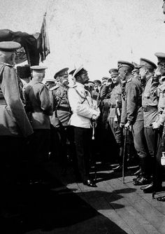 Tsar Nicholas II and officers