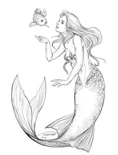 f416c1c740 Ariel and Flounder. Mermaid ArtMermaid ...