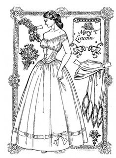 there are several pages of costumes for this Mary T Lincoln paper doll