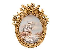Cornice decor in resina e tela Paesaggio d'Inverno - 60x76x9 cm