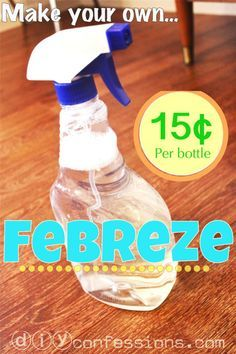 Home-Made FEBREZE! Cost less than a quarter to make & smells fantastic! Items Needed: 1/8 Cup of Fabric Softener 2 Tablespoons Baking Soda Hot Water Spray Bottle