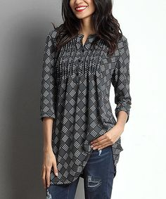 This Charcoal Checker Notch Neck Pin Tuck Tunic is perfect! #zulilyfinds I really like this tunic, typically they are polyester and to tight in the arms and don't hang on my shoulders right but this one is cotton and doesnt have a low neckline love the drape, looks comfy!