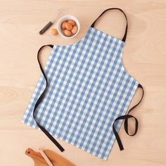 """""""Classic Pale Blue Pastel Gingham Check"""" Apron by podartist   Redbubble Gingham Check, Blue Gingham, Mint Blue, Blue Cream, Grey And White, Green And Grey, Plaid Apron, Cheap Aprons, Custom Aprons"""