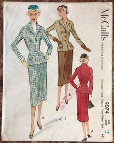 ❤️McCalls 9074 Vintage 1952 Sewing Pattern Elegant Misses 2-piece Suit, Jacket & Skirt. Bodice has Unique 3 Button-Down Front, Collar & Tabs at Lower Front of Jacket Fitted Waist from Darts & Princess Seams Bound Buttonholes and Full Lining Two-part Fitted Sleeves Back Princess Seams continue to back of Skirt, Slim Skirt has Fitted Waist. Size 16 Bust 34 Waist 26 Hip 38 from QUEENOFFRANCE on ETSY.COM,  I JUST BOUGHT THIS PATTERN!! Yeah!! jwt
