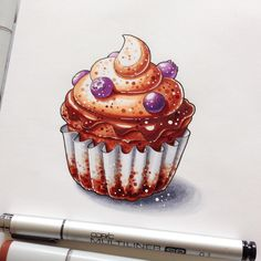 Marker art sketches sketchbook watercolor art, copic drawings и copic art. Cupcake Birthday Cake, Cupcake Art, Copic Drawings, Cute Drawings, Marker Drawings, Cupcake Drawing, Food Sketch, Copic Art, Food Drawing