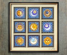 "Suns and Moons Square Art Print Dan Morris titled ""Good Day Sunshine"", Celestial art, Choose print size, Option to mount print Tangled Sun, Dan Morris, Moon Symbols, Good Day Sunshine, Square Art, Moon Print, Sun Moon, Bold Colors, Scrappy Quilts"