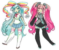 Giffany and Hatsune Miku clothes swap