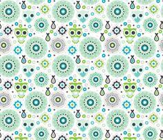 Powder blue green nursery owl fabric by littlesmilemakers on Spoonflower - custom fabric