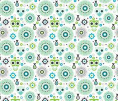 Powder blue green nursery owl fabric by littlesmilemakers on Spoonflower - custom fabric