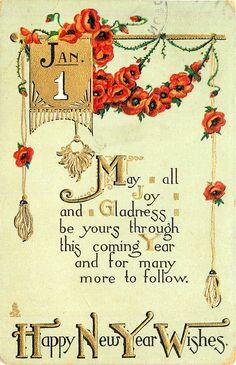 Vintage Happy New Year, Happy New Year Message, Happy New Year Cards, Happy New Year Wishes, New Year Greetings, Vintage Greeting Cards, Vintage Christmas Cards, Vintage Holiday, Vintage Ephemera