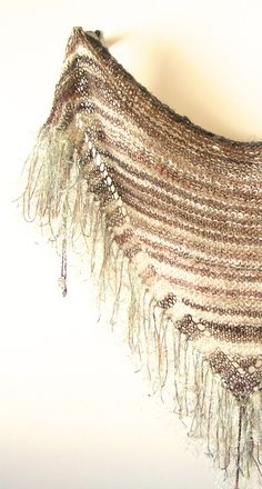 Triangle Scarf with Fringe and Beads Alpaca by TheSavvyStitch, $56.00