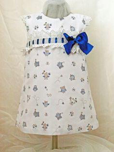 Vestido T4 con búhos y lazo azulón