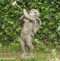 Garden Angel Statue Stone Cherub Sculpture Outdoor Art Landscape Decor Figurine #StatuaryYardArt