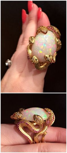 A glorious opal ring by Mousson Atelier, with a magnificent setting of snakes.