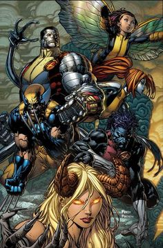 X MEN : Colossus - Pixie - Wolverine - Mercury - Nightcrawler - Darkchild Comic Book Artists, Comic Book Characters, Comic Book Heroes, Marvel Characters, Comic Character, Comic Books Art, Comic Art, Dc Anime, Anime Comics
