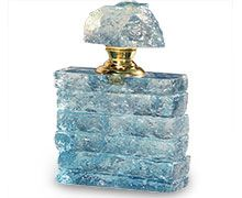 light blue crystal perfume bottle with textured finish