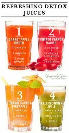 1. Carrot, apple, ginger 2. Tomato, carrot, radish 3. Orange, carrot, pineapple…