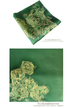 FilkinaScarves Mens Silk Pocket Square Hand Painted Mint Green Creamy Roses hanky Batik Handkerchief Wedding Fathers Birthday Gift Silk Painting FS 12 This luxury hand-painted silk satin pocket square is very appropriate emphasis on men's clothing. It will add elegance and individuality to your look. This elegant hand-painted silk handkerchief is inspired by Bulgarian rose - a symbol of our country for centuries. Bulgarian Rose embodies the freshness of nature, aesthetics in Bulgarian…
