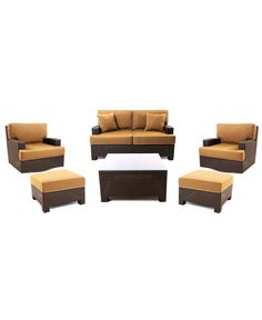 Antigua Outdoor 6 Piece Seating Set: 1 Loveseat, 2 Swivel Chairs, 2 Ottomans and 1 Coffee Table