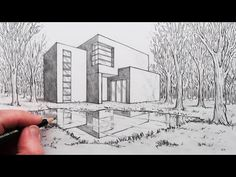 How to Draw a House in 2-Point Perspective with Reflection in Landscape - YouTube