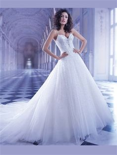 White A Line Sweetheart Beads Sequins Tulle 2014 Wedding Dresses AWD100072