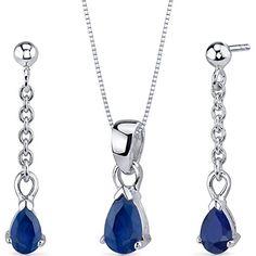 Revoni Dangling 2.00 carats Pear Shape Sterling Silver Sapphire Pendant Earrings…