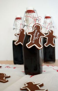 Gingerbread Syrup - post includes recipe and cute bottle/label gifting idea