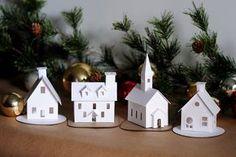 DIY Putz Village Ornament Kit of 4 Christmas Glitter House Decorations