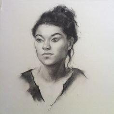 Charcoal portrait of a girl.  Artist: Charlotte Partridge