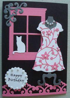 G090 Hand made birthday card using SU Dress Up Framelit, Madison Window, IO Cat and spellbinders dies. Pattern on dress is flowering Christmas tree.