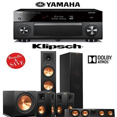 Klipsch RP280FA 51 Dolby Atmos Home Theater System with Yamaha AVENTAGE RXA2060BL 92Ch AV Receiver -- You can find more details by visiting the image link.