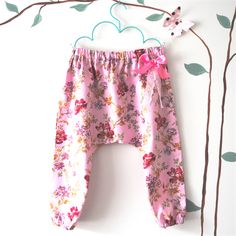 Pink Floral Harem Pants - baby, girl, toddler, winter