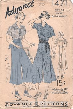 Advance 1471; ca. mid 1930s; Divided Skirt and Shirt