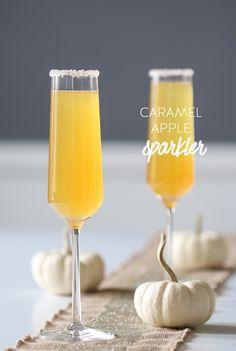 caramel apple sparkler champagne cocktail - elegant fall cocktail