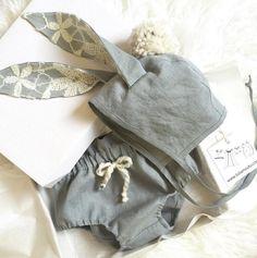 Handmade Linen Bunny Ears Bonnet & Bloomers | TotsModa on Etsy