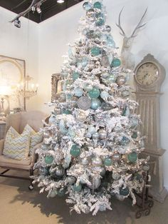 aqua and sliver on a white tree- add in some navy too