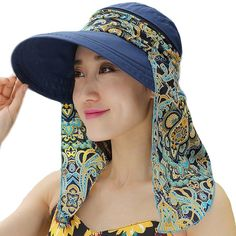 Ladies Summer Beach Cotton Big Brim Foldable Sun Floppy Sunblock Hat Hats Visor