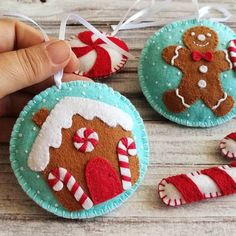 Gingerbread Christmas Decor, Felt Christmas Decorations, Felt Christmas Ornaments, Baby Ornaments, Personalized Christmas Ornaments, Handmade Christmas, Christmas Crafts, Blue Christmas, Christmas Christmas