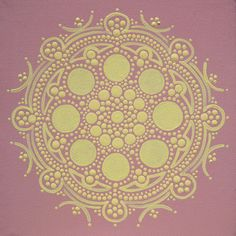 Original vintage rose pink and vintage pale yellow mandala painted free-hand with acrylic.  http://www.etsy.com/shop/joypompeo