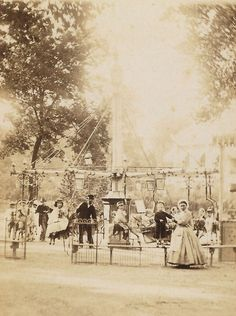 Photograph of a carousel in an amusement park or carnival in Paris, ca. Vintage Pictures, Old Pictures, Old Photos, Paris Vintage, Old Paris, American Civil War, American History, Second Empire, Civil War Photos