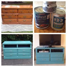 """A $25 old dresser updated into a modern tv stand. I used a great primer from Zinsser that will stick to any surface and Valspar paint + primer (no sanding required). The inside shelving paint from Targets new line """"Devine Color"""" and the hardware from Target as well. Love the results!"""