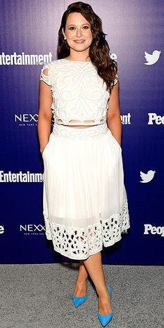 Last Night's Look: Love It or Leave It? | KATIE LOWES | in a two-piece white eyelet ensemble with electric blue pumps at PEOPLE and Entertainment Weekly's upfront party in N.Y.C.