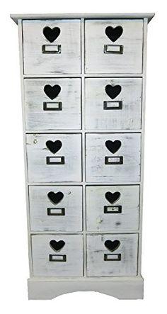 Holz Regal weiß 10 Schubladen 45x100x24cm mit Herz Griffen und Platz zum beschriften - Sideboard - Holz Kommode Decoline http://www.amazon.de/dp/B00R3BUU9K/ref=cm_sw_r_pi_dp_gx48ub1P89W2M