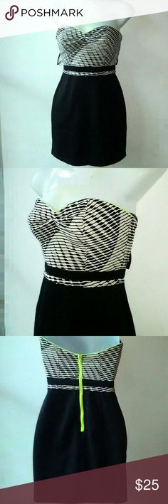 Silence + Noise Strapless Mixed Print Dress Black and white Mixed print strapless dress with neon green trim and zipper on the back. Length is 25 inches from neckline to hem. Material is poly spandex blend. Excellent brand new condition. B7 silence + noise Dresses Strapless